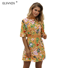 ELSVIOS Sexy summer Hollow Out Lace Patchwork Dress 2018 Summer Women Flower Printed O neck half