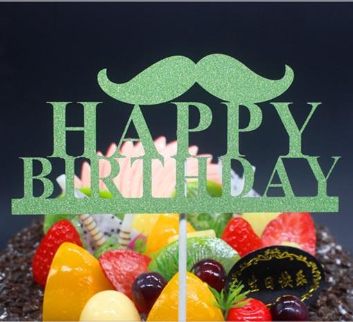 DIY Mutlu Doğum Günü Baba Bıyık Kek Bayrak Topper Doğum Günü - Tatiller ve Partiler Için - Fotoğraf 4
