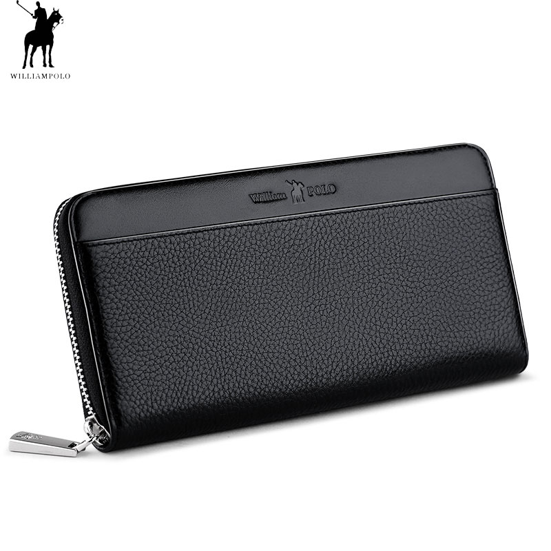 WilliamPOLO Men Coin Pocket Genuine Leather Fashion Zipper Long Credit Card Phone Holder Cowhide Clutch Wallets Black Minimalist