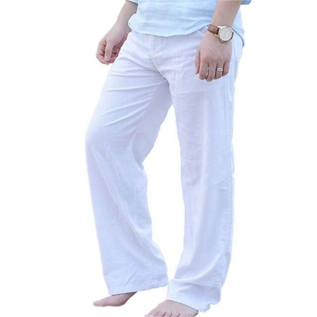 causalit pantalon en lin hommes haute qualit d 39 t. Black Bedroom Furniture Sets. Home Design Ideas