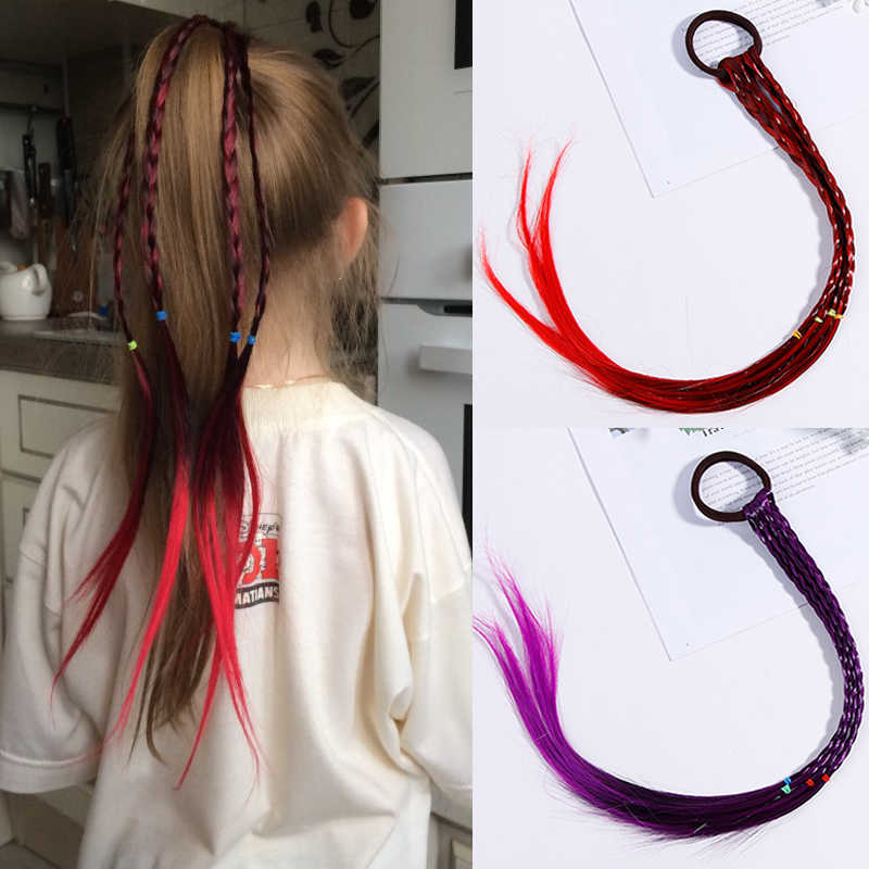 Цветные парики конский хвост волосы головные украшения с узором Резиновые Искусственные полосы волосы плетеные эластичные повязки на голову Детские аксессуары для волос