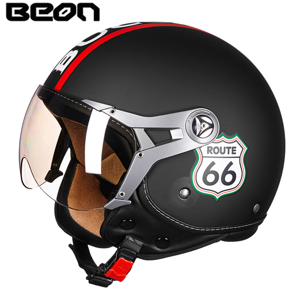 BEON Motorcycle Helmet Chopper 3/4 Open Face Vintage Helmet B10071 Moto Casque Casco motocicleta Capacete Retro helmets 1000m motorcycle helmet intercom bt s2 waterproof for wired wireless helmet