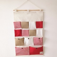 Wall Door Linen Cotton Hanging Organizer Bag Holder With 13 Pockets For Storage Of Home