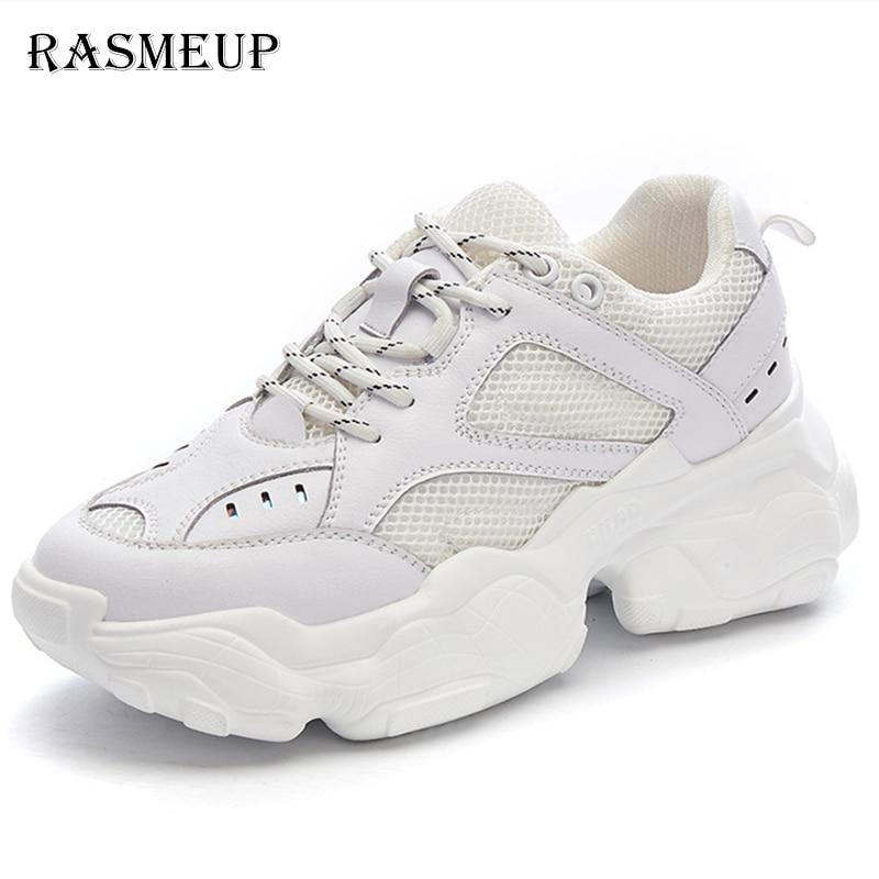 RASMEUP Mesh Breathable Women Chunky Sneakers 2019 Fashion Summer Women s Platform Shoes Brand Trainers Ladies