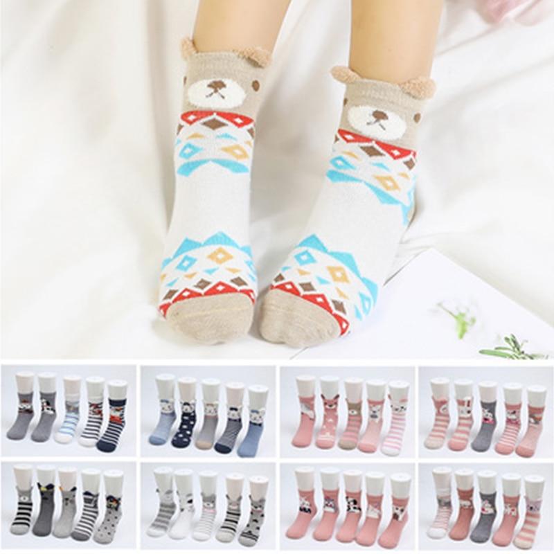5Pair Cartoon Cat Ears Knee High Cotton Socks Girls Autumn Winter Stocking New