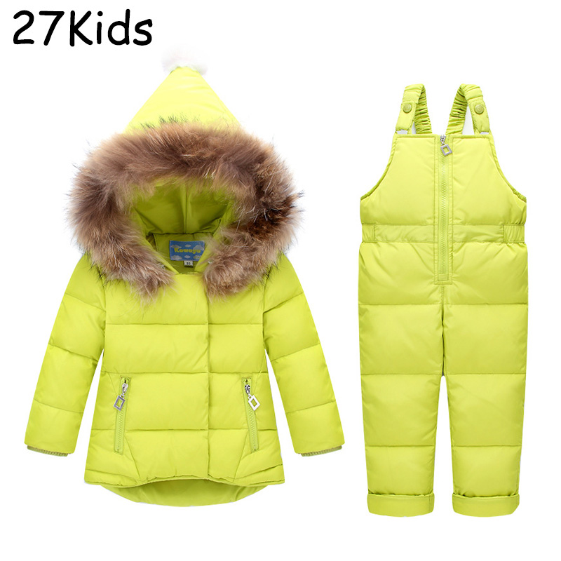 Solid Baby Children Boys Girls Winter Warm Down Jacket Suit Set Thick Coat+Jumpsuit Baby Clothes Set Kids Jacket With Fur Hooded newborn boys girls winter warm down jacket suit set thick coat overalls suits baby clothes set kids hooded jacket with scarf