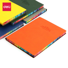 Deli A5 notebook beautiful stationery fashion multicolour thickening diary leather female colorful Faux Leather