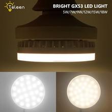 8PCS 5/7/9/12/15/18W GX53 LED Downlight Round lamp light super bright led bulb GX 53 110v 220v 240v Ceiling Down Spotlight
