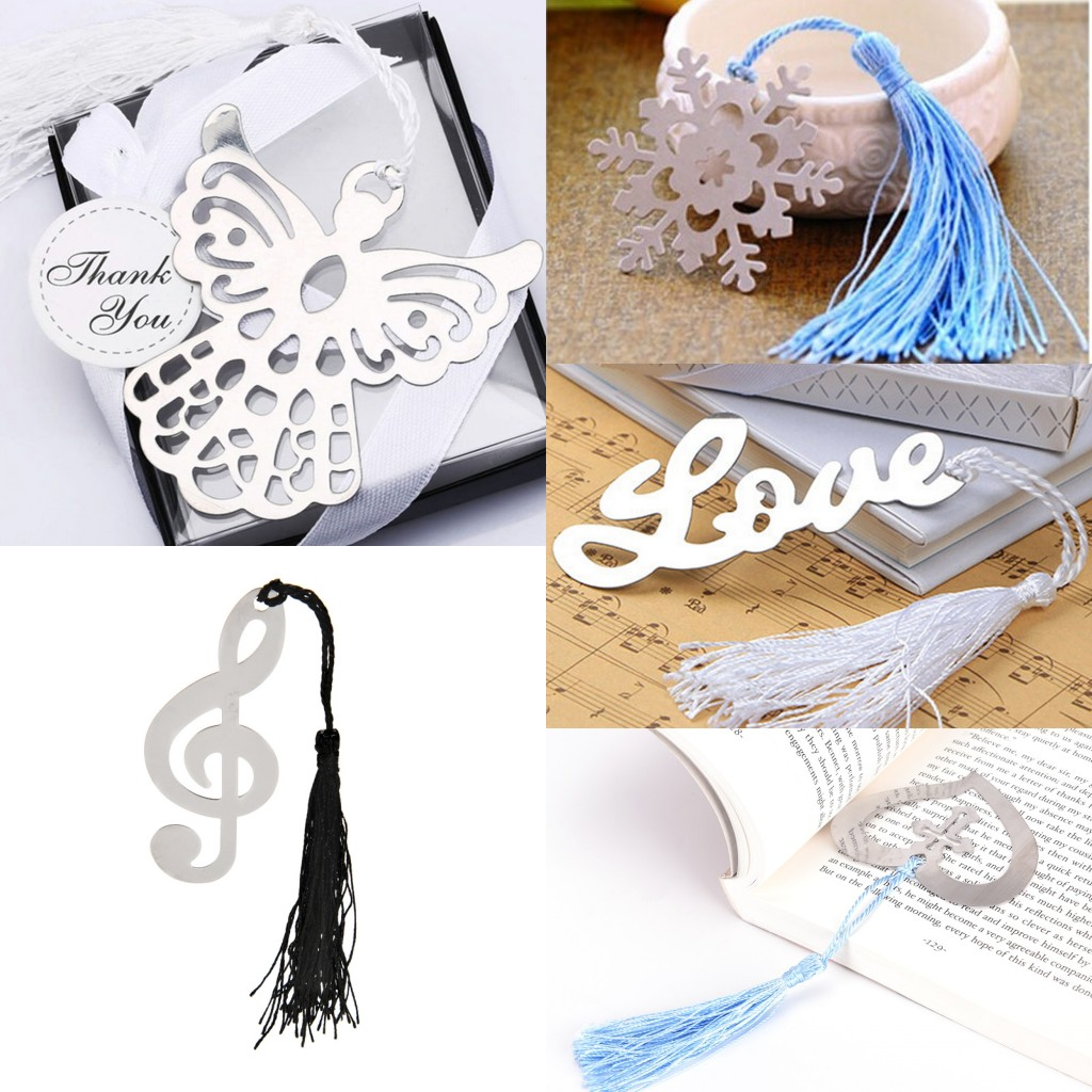Book Marker Stainless Angel Love Heart Snowflake Bookmarks Wedding Guests Party Metal Bookmark Memo Stationery Book Tags Gift