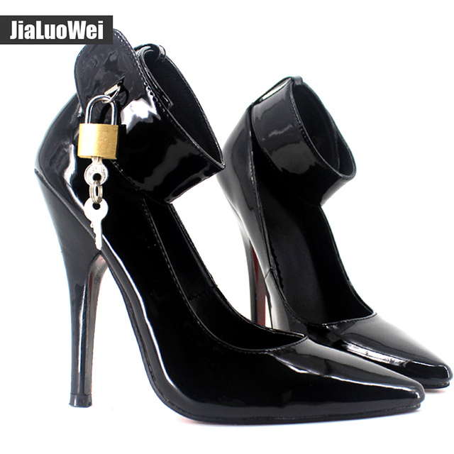 jialuowei Women Pumps 12CM High Heel Women Fashion Pointed Toe Ankle strap  Sexy Fetish BDSM Lockable