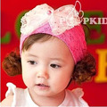 Children with big bow of Pearl Tiara baby girl Lace Flower Headband wide ribbon baby hair accessories summer wig hat
