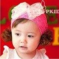 Crianças com grande arco de pérola Tiara bebé Lace flor Headband acessórios de cabelo do bebê fita larga verão peruca chapéu