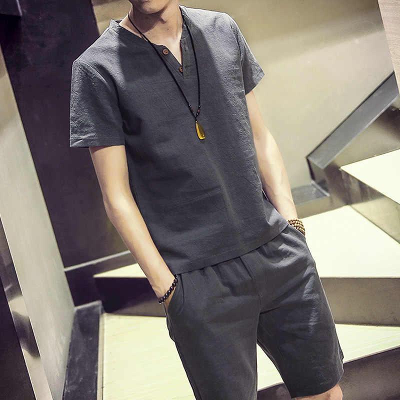 中国風店 5XL 男性綿リネン Tシャツの男 2019 夏カジュアル Tシャツメンズ Tシャツ男性 V ネック半袖 Tシャツ