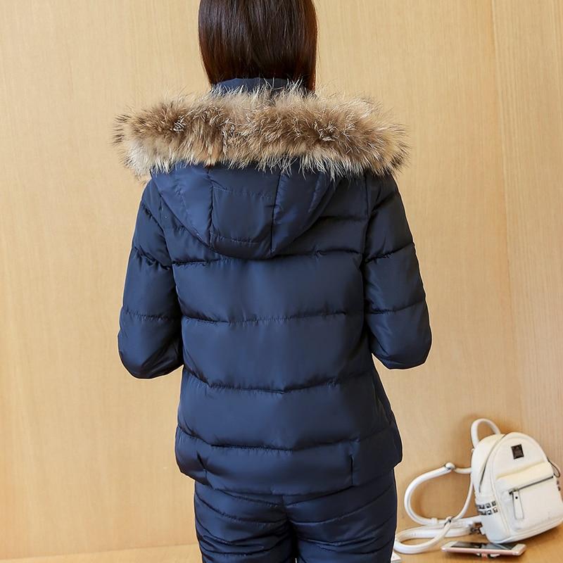 Porter blue Mode Femmes Veste Femelle 2018 Costume Parkas Rembourré Définit Blue D'hiver Vêtements pink Coton Nouvelles Manteau De Pantalon Fy13 Chaud sky Neige Black wwrqR