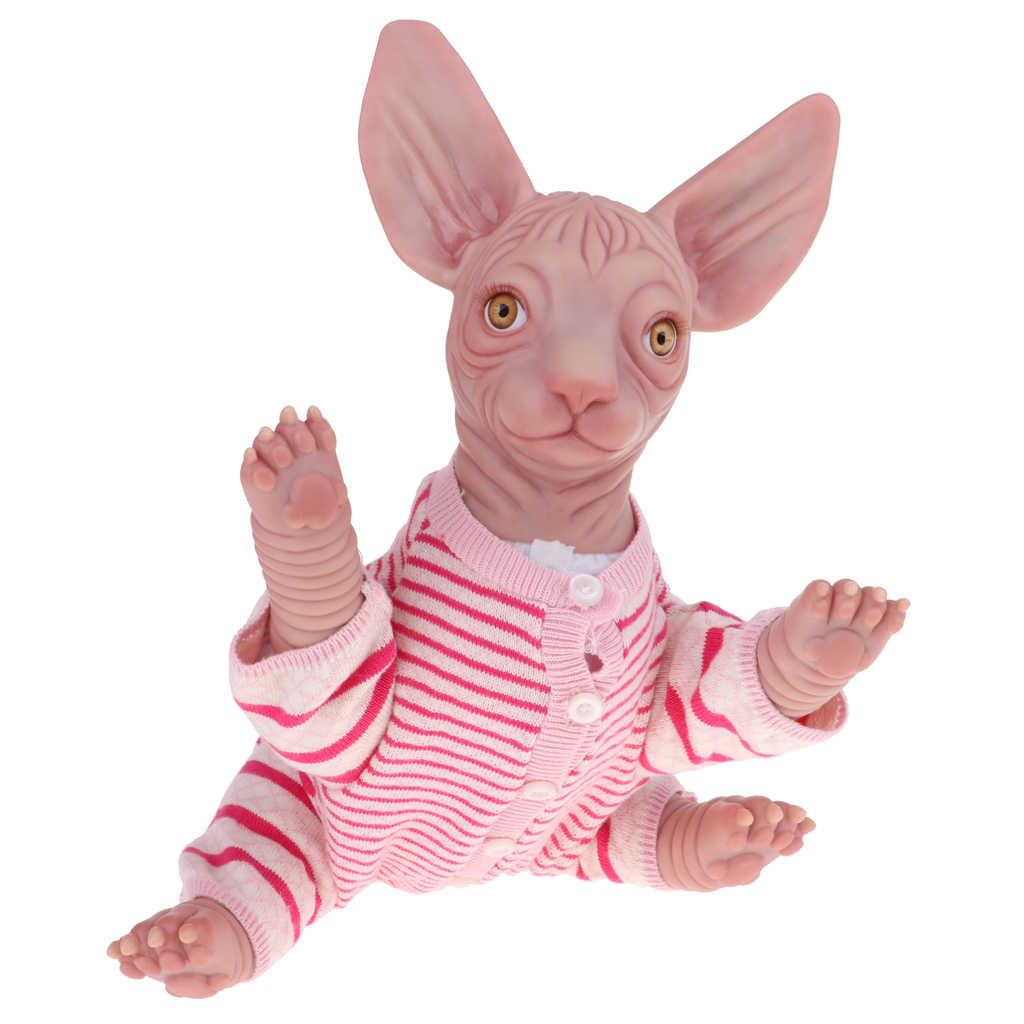 18 인치 진짜 찾고 부드러운 실리콘 비닐 Reborn 키트 니트 스웨터 옷 Sphynx 고양이 Unpainted 금형 위대한 DIY Handwork