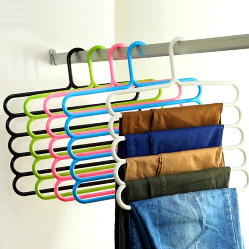 SrDcMbk 1Pcs 5 Layers Tier Trousers Hanger Pants Clothes Holder Rack S Shape Multi-purpose For Tie Organizer Storage Hangers