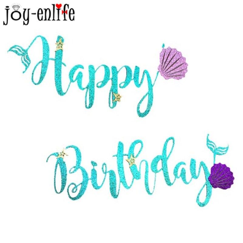 "JOY ENLIFE1set Mermaid Party Decoration Glitter ""Happy"