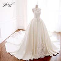 Fmogl Vestido De Noiva High Neck Ballkleid Hochzeit Kleider 2019 Appliques Perlen Spitze Muster Satin Vintage Braut Kleider