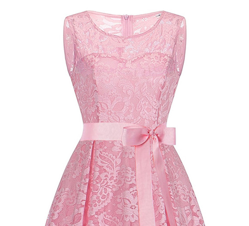 OML525F#front short and long back Pink Bow Evening Dresses Classmate party dress prom gown wholesale cheap fashion clothing girl