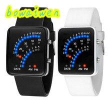 Bowaiwen #8004 пара часы Высокого Качества Женщин Мужские Футуристический Японский Стиль Многоцветный СВЕТОДИОД Спорт Наручные Часы