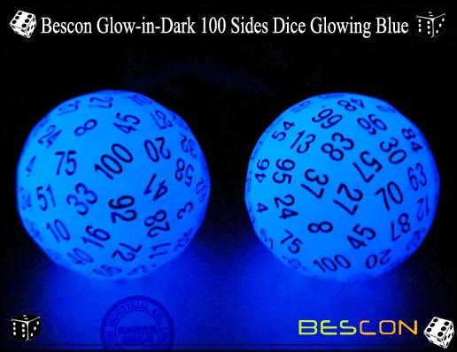 Glow in Dark Luminous D100 Dice Bescon Glowing 100 Sides Game Dice of Acid Blue