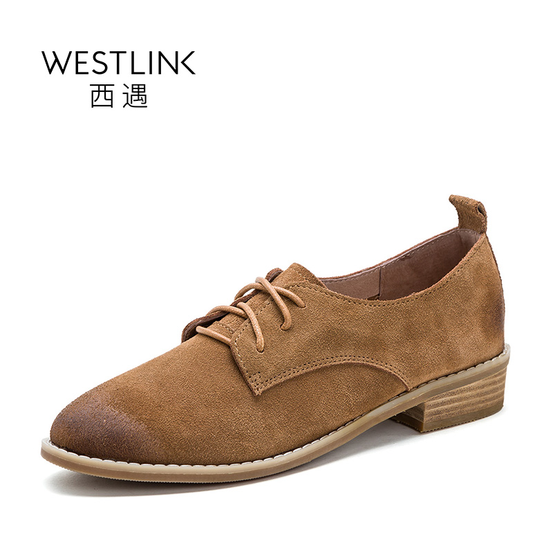 ФОТО Westlink Vintage Cow Suede Pointed Toe Deep Shoes Lace-up Low Heels Women Black Khaki 2017 Sping New