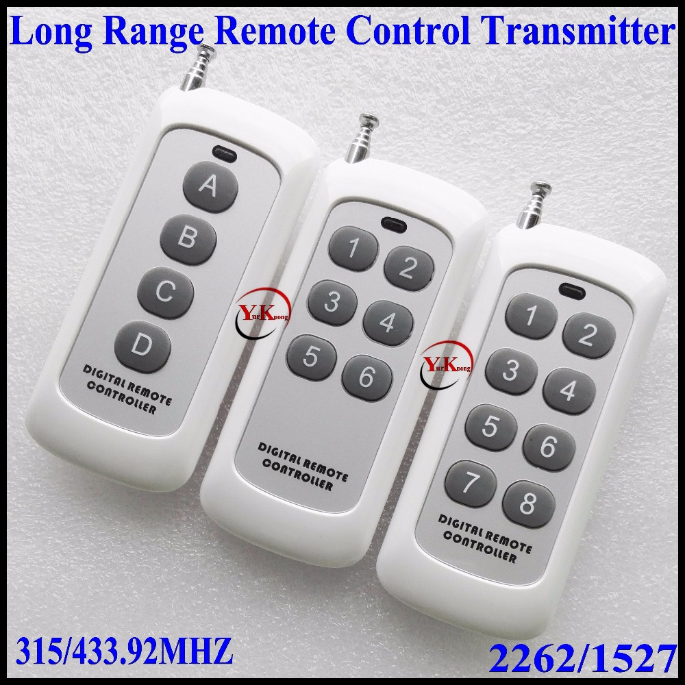 Small Size Long Range Remote Control 4 Button 6 Button 8 Button315433MHZ Transmitter RF ASK 2262 1527 Wireless Remote for Switch remote control transmitter for remote switch 1 2 3 4 6 8 button small size long range big button remote key pad 315 433 22621527