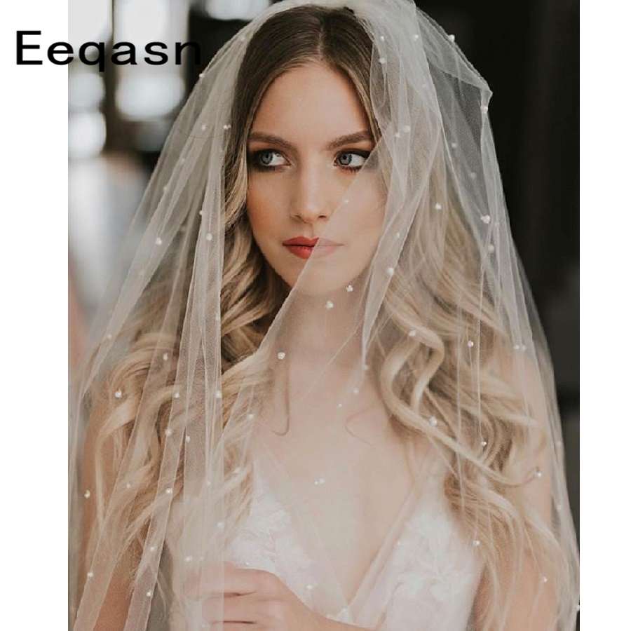 Elegant Long Ivory Wedding Veil With Metal Comb 2019 Pearls Soft Tulle One Layer Cathedral Bridal Veils Wedding Accessories