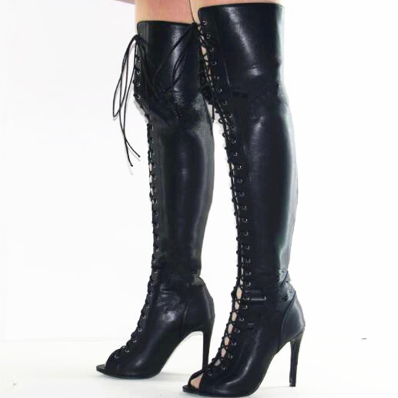 SHOFOO shoes, fashion novelty free shipping, black tie, PU, 11 cm high heel boots, over-knee boots.SIZE:34-45, телевизоры led в vj bkfr
