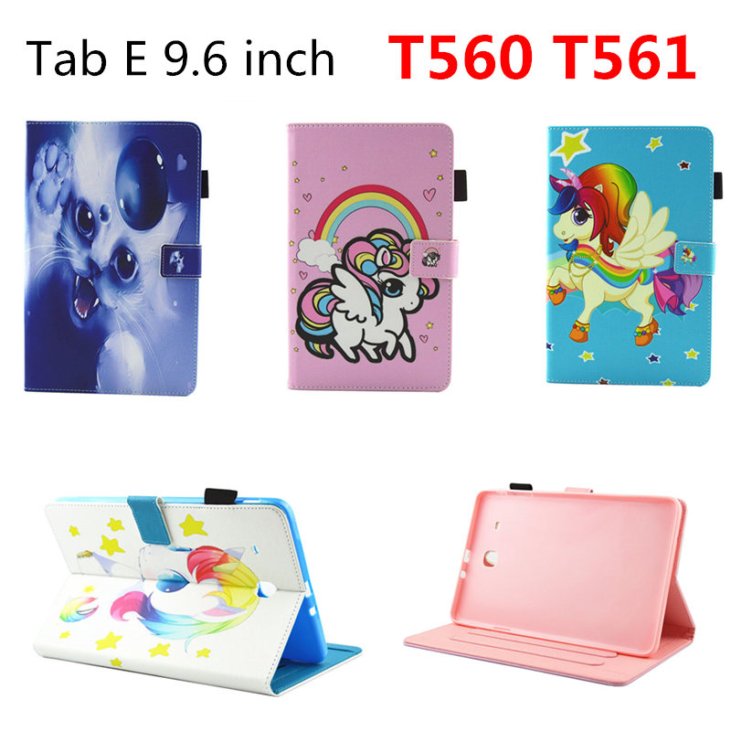 Fashion Colorful Painting PU Leather Stand Cute Cover Tablet Case for Samsung Galaxy Tab E 9.6 inch T560 SM-T561 SM-T560 T561 yh printed flip stand skull cute owi leopard pu leather cover case for samsung galaxy tab e 9 6 inch tablet t560 t561 sm t560