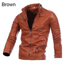 Men s Cool Multi Pocket Slim Zip Coat Faux Leather Motorcycle Biker Jacket