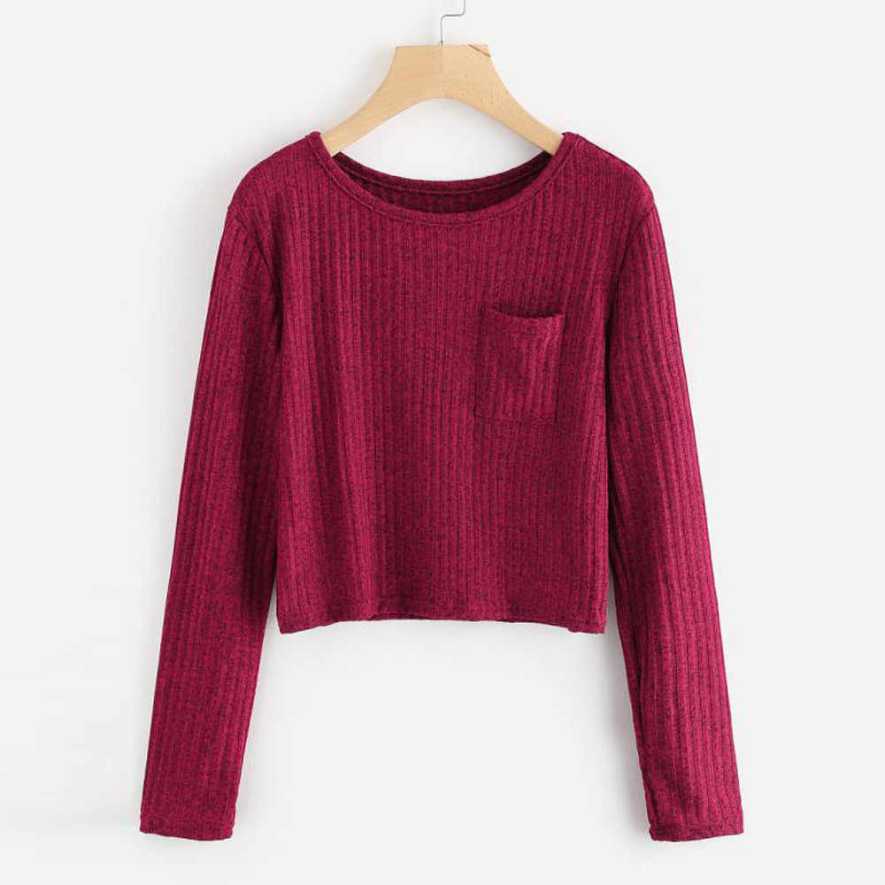 2018 Autumn New Fashion women sweatshirts Solid long sleeve o neck Massager sweatshirt solid color elegant casual Tops tumblr