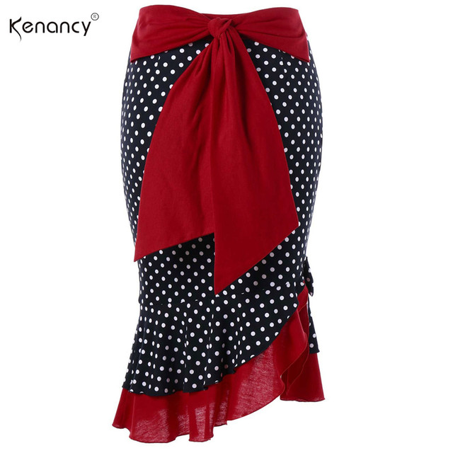 Kenancy 3 Colors Back Bowknot Polka Dot Trumpet Mermaid Bodycon Office Skirt  Women Elegant Party Wear eb246625df84