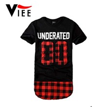 Britain famous brand Men t shirt fashion design of red tartan and number 00 short-sleeve casual lengthen extended tops teeVC2960