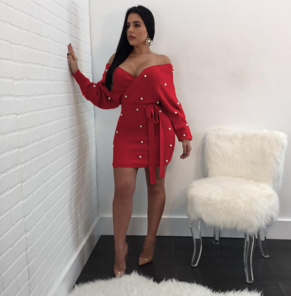 2018 Sexy V neck Women Dresses Pearl Party Dress Backless Red Yellow Mini Dress Lace Up Sashes Party Dress Vestidos