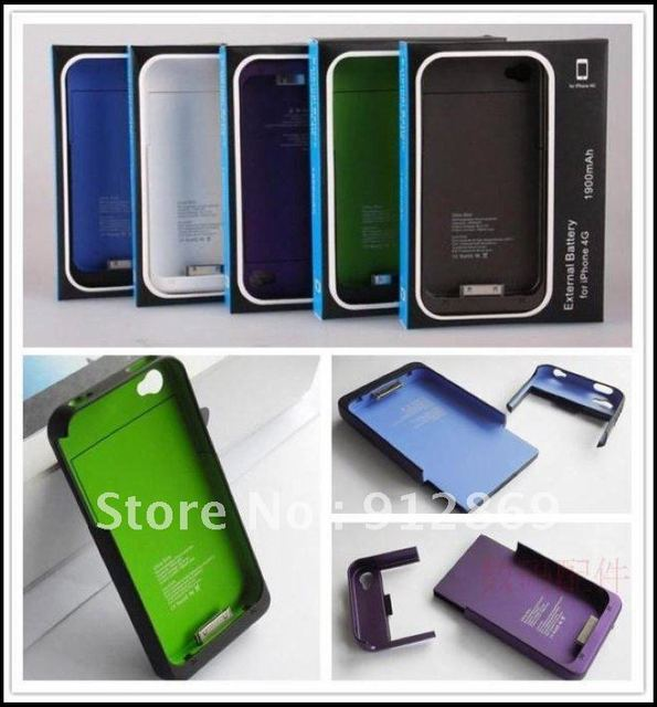 10pcs DHL Free shipping 1900mAH backup Battery for iPhone 4/4S mobile power pack case travel external battery for iphone4/4S