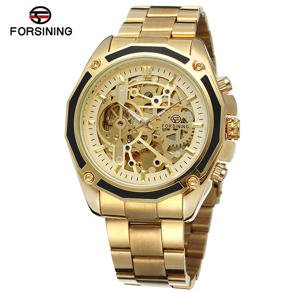 купить New 2017 Forsining Luxury Watch Men Men's Hollow Out Auto Mechanical Watches Wristwatch  Gift Free Ship по цене 1259.12 рублей