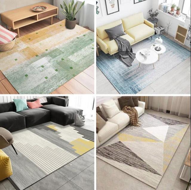 Style Nordique Motif Geometrique Tapis Grande Taille Salon Chambre The Table Et Rectangulaire Antiderapant De Sol