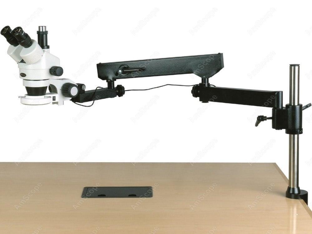 Bras articulé Microscope-AmScope Fournitures 3.5-180X Trinoculaire Articulé Bras Pilier Pince 144-LED Zoom Stéréo Microscope