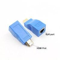 HIPERDEALE Üzerinde 2 adet 1080 P HDMI Extender RJ45 Cat 5e/6 Ağ LAN Ethernet Adaptörü Mavi Dropship 180108