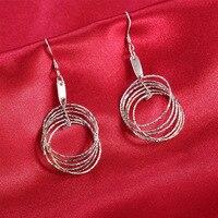 Majątek 925 Sterling Silver Kolczyki dla kobiet, dobry platinum plated dangles dla pań bardzo dobrze piękna biżuteria