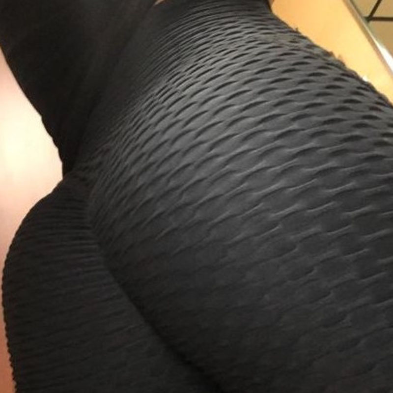 Image 5 - New Fitness Anti Cellulite Texture Leggings Women Pants Solid High Waist Workout Wrinkle Leggings Pants-in Leggings from Women's Clothing