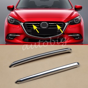 Chrome Front Grill Cover Trims Strip Accessories For Mazda 3 (BN) 2017 Axela M3 (Fits: Mazda3) 180sx led ヘッド ライト