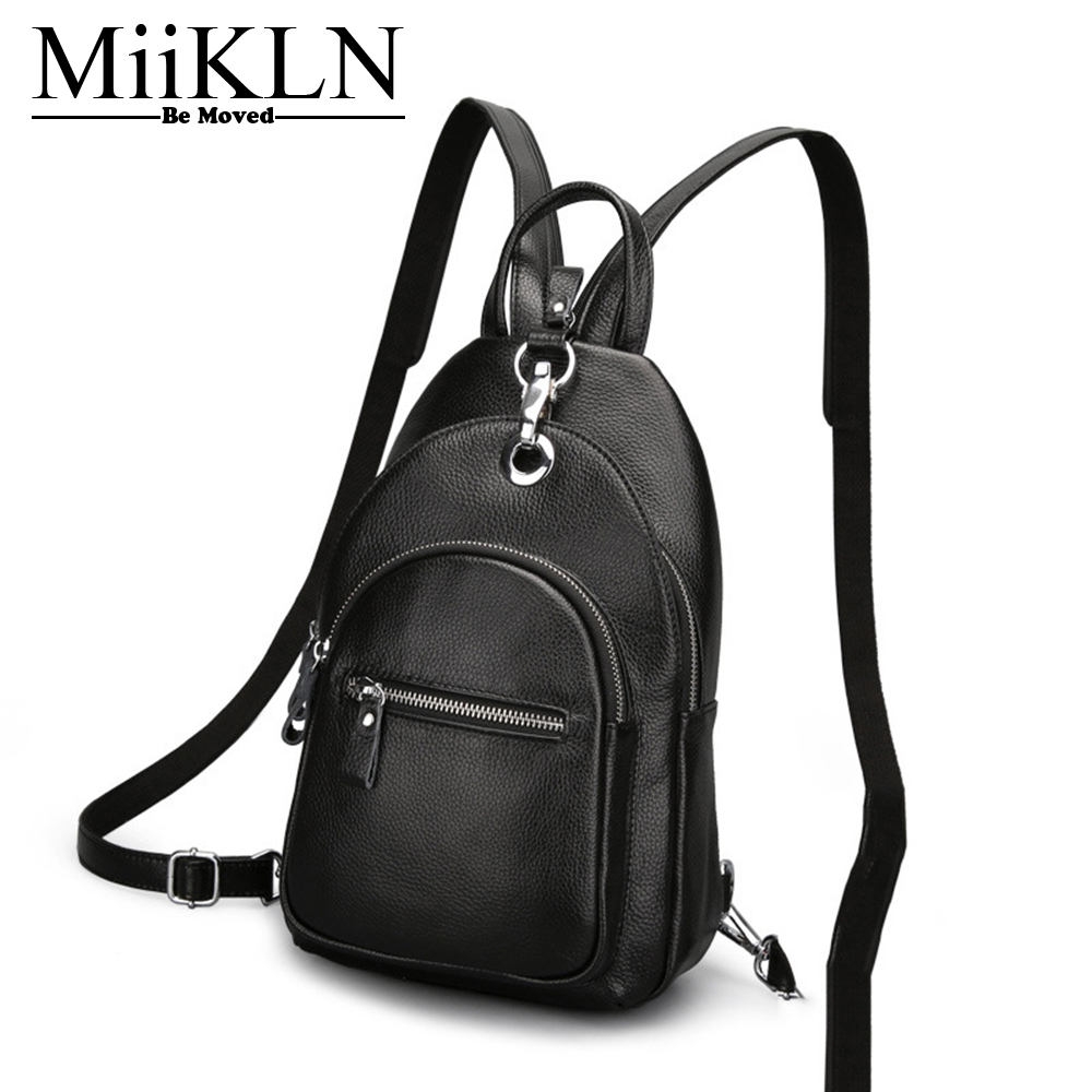 MiiKLN Women Backpack Genuine Leather Solid Color Black Red Blue Small Backpack For Women Fashion Design Female Mini Back Pack fashion design women backpack leather star rivet black female youth satchel