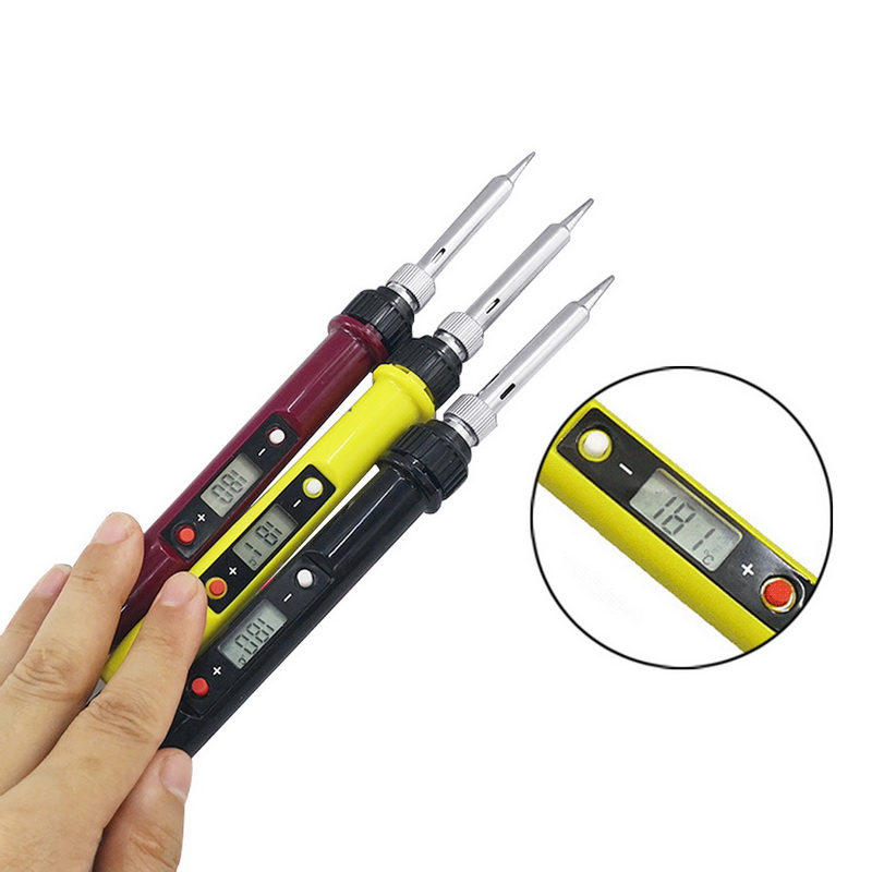 80W EU Plug LCD Digital Display Soldering Iron Adjustable Temperature Electric Soldering Iron Welding Rework Repair Tools