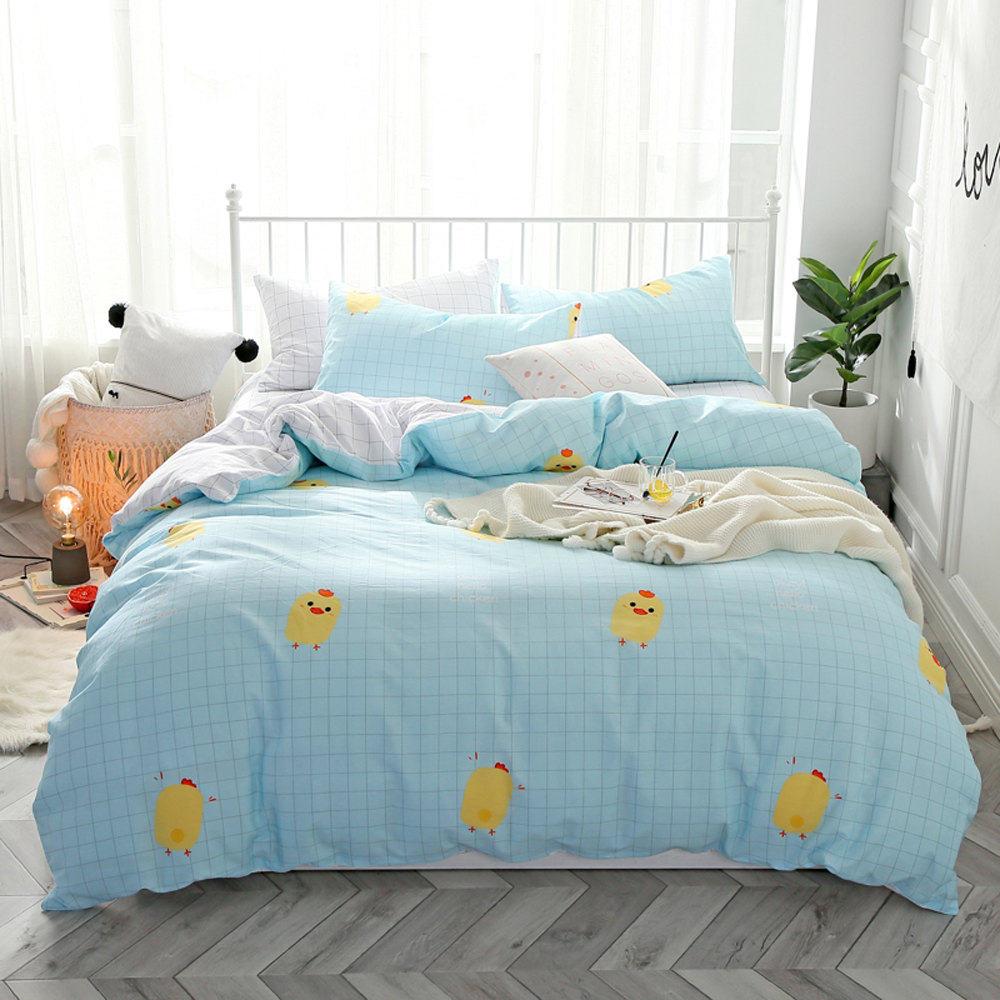 Papa&Mima Little yellow chicken print bedding set Sanded Cotton Queen King size flat sheet pillowcases duvet cover sets