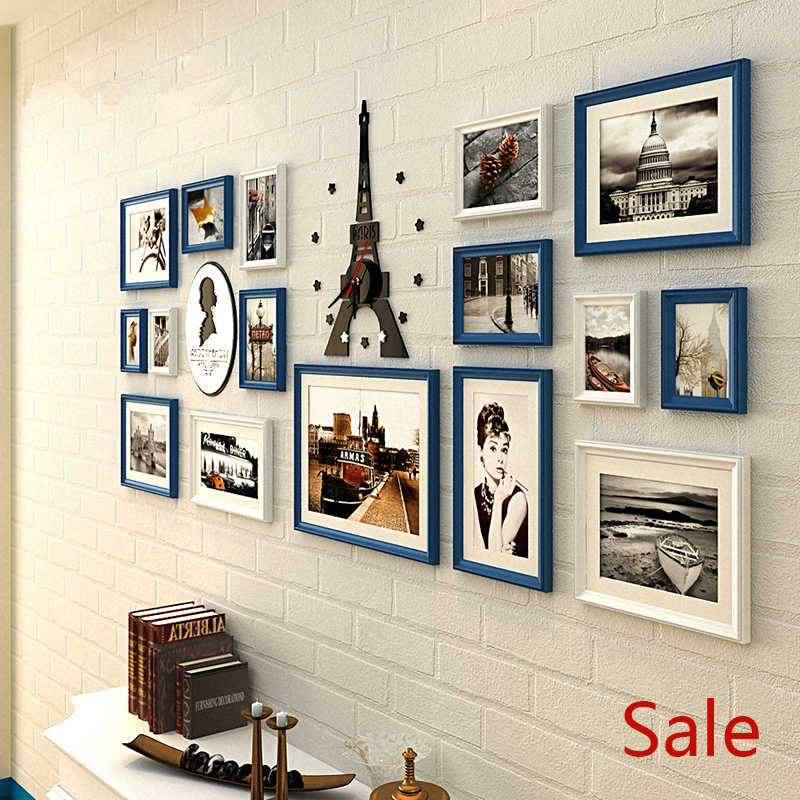 18 pcs customized solid wood wall picture wooden cheap photo frames living room creative combination set blue white black brown