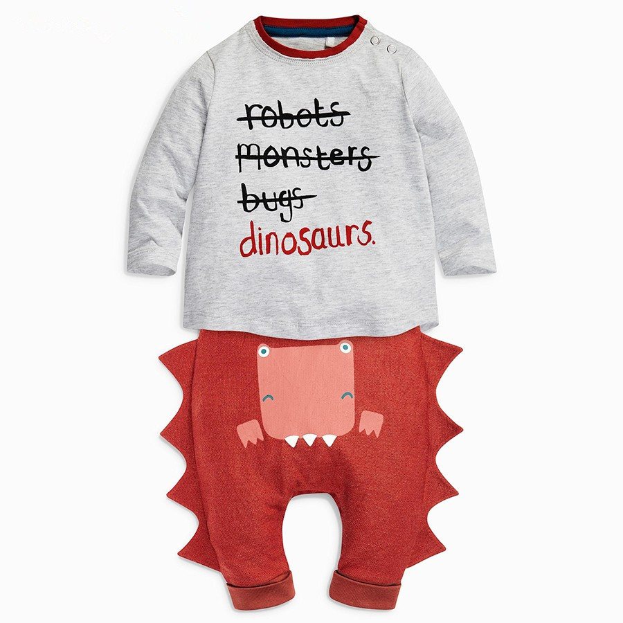 Retail 2017 new Infant Clothes Letter printing Baby Clothing Sets Boys Cotton Little Monsters long Sleeve 2pcs Baby Boy Clothes 2017 new boys clothing set camouflage 3 9t boy sports suits kids clothes suit cotton boys tracksuit teenage costume long sleeve