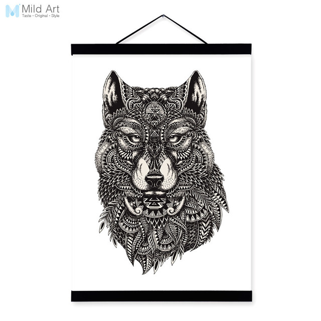 Modern wolf black white animal head portrait wildlife wood framed canvas painting wall art print picture