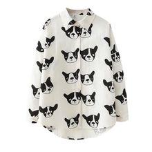 a88488e57a4a Women Sweet Puppy Print Bat Long Sleeve Blouses And Tops Lapel Collar  Single Buckle Female Blouse
